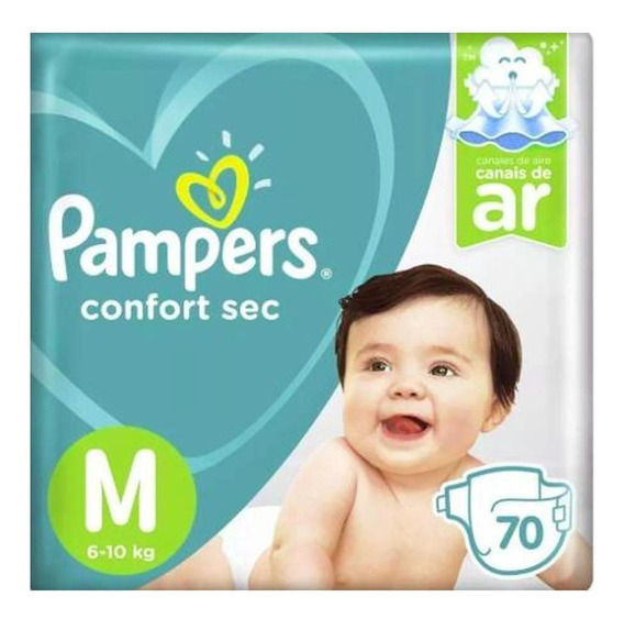 Fralda Pampers Confort Sec Super Tamanho M Com 70 Unidades