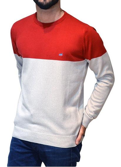 Sweater Cuello Redondo Bicolor Algodon Mistral Hombre 14800