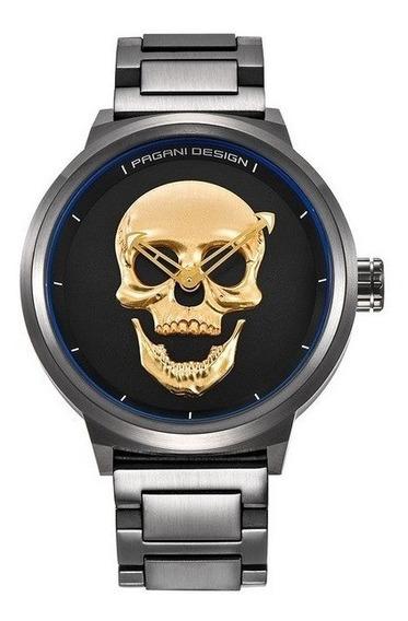 Relógio Masculino Pagani Design 3d Skull Crânio Caveira