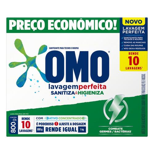 Sabão em pó Omo Lavagem Perfeita Sanitiza & Higieniza caixa 800g