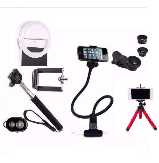 Kit Youtuber 2 Pau Self Lentes Mini Tripé Led Flash Suporte