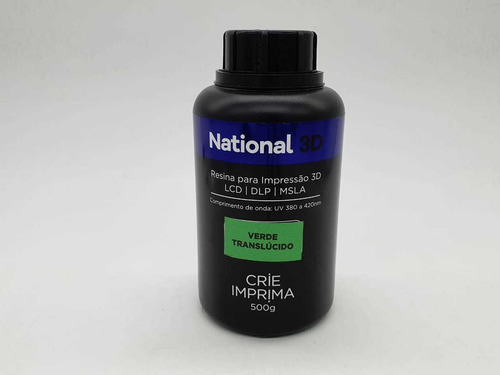 Imagem 1 de 1 de Resina  - Verde - Translúcida - National 3d - 500 Ml
