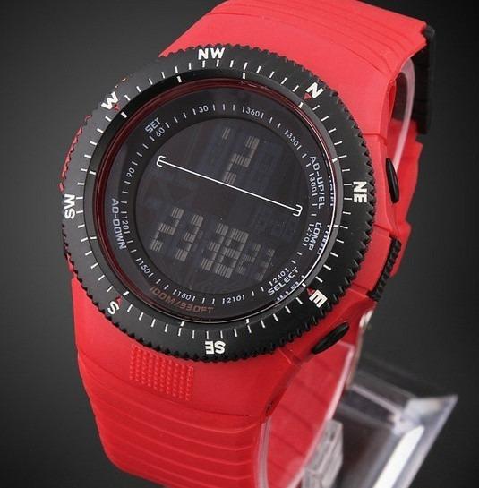 Relógio Pulso Esportivo Vermelho Sport Calendário Completo