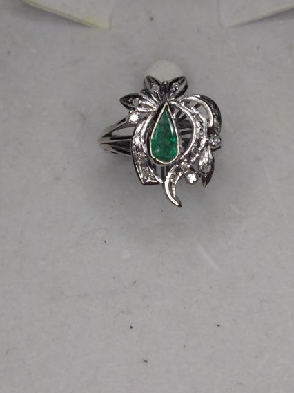 Anillo De Esmeralda Y Diamantes Precio De Liquidación $$2350