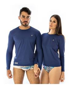 Blusa Azul Escuro Camisa Azul Marinho Camiseta Proteção Uv