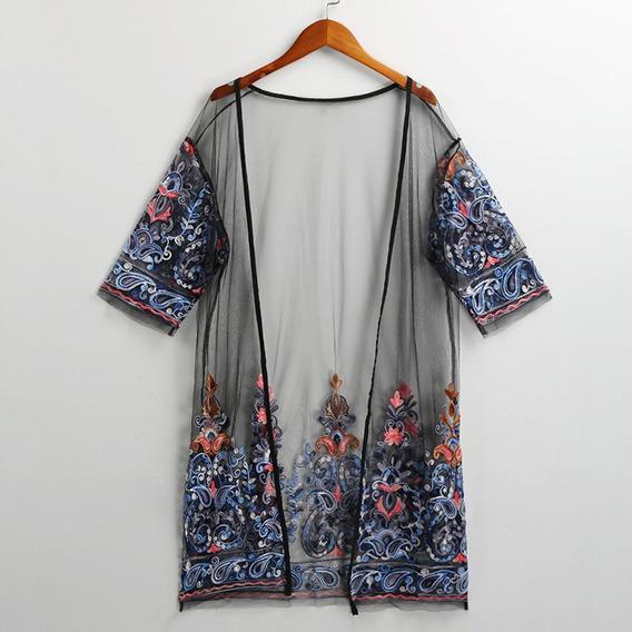 Cárdigan Bordado Floral De Verano Para Mujer Sexy Kimono