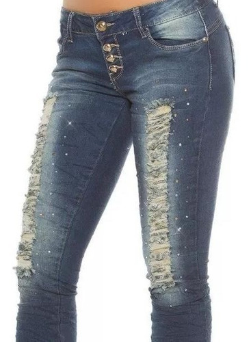 Jeans Koucla Ripped Look Con Pedrería  Importado !!!