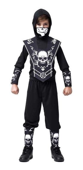 Roupa Para Halloween De Ninja Caveira Infantil C Balaclava
