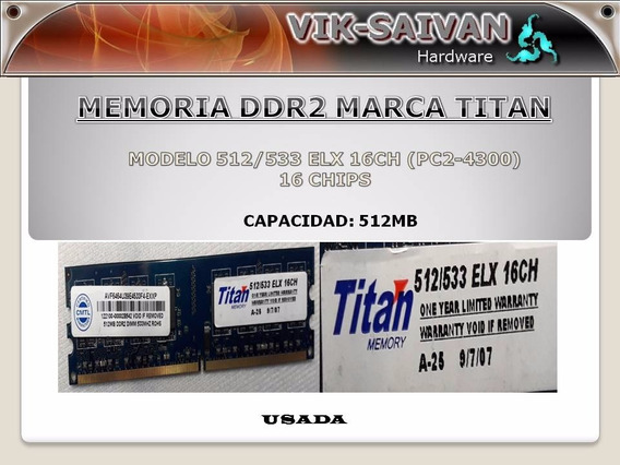 Memoria Ddr2 Titan 512mb Pc2-4300 533mhz 16 Chips 34