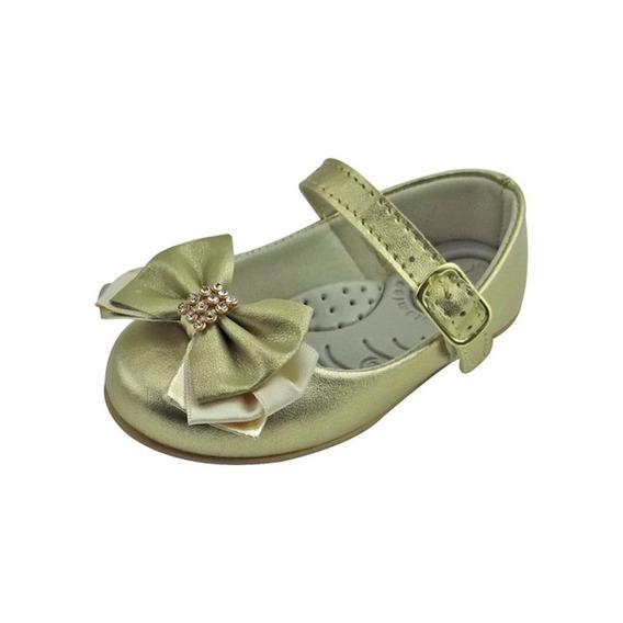 Sapato Boneca Baby Com Laço E Strass - Dourado