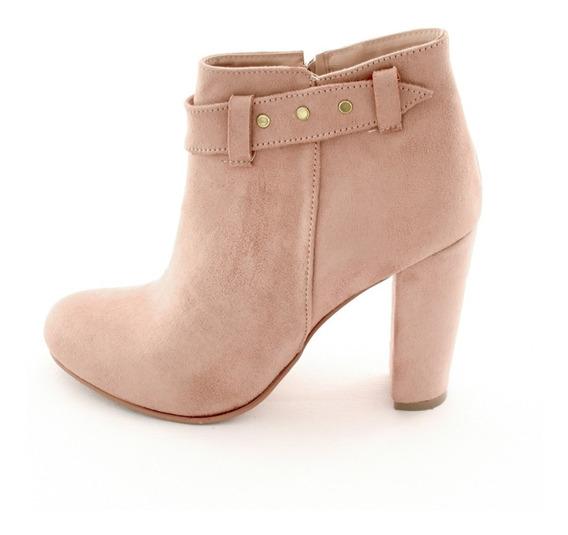 Zapatos Botin Dama Tacon Ancho Mujer Gamuza Beige M4290