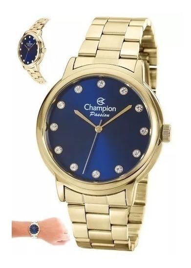 Relogio Champion Feminino Dourado C/ Fundo Azul Cn29874a