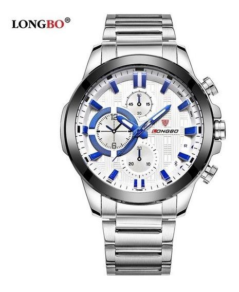 Relógio Masculino Longbo Aço Inox + Frete Grátis + Brinde.