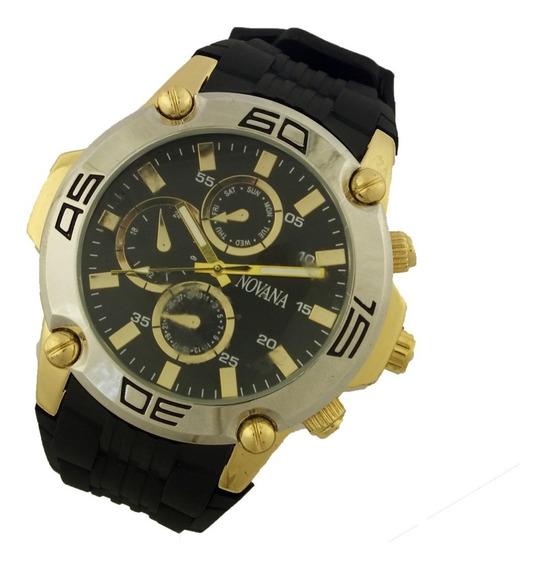Relógio Masculino Novana Analógico Pulseira Borracha B5727