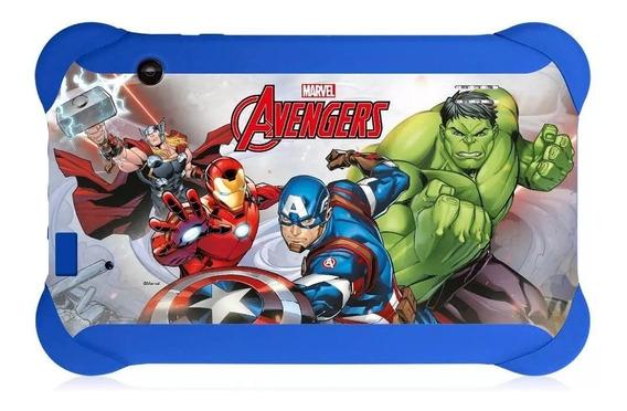Tablet Azul Infantil Avengers Jogos Multilaser Wifi Quad Cor