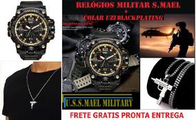 Relógio Militar Analogo Digital Anti Shock S.mael+colar Uzi