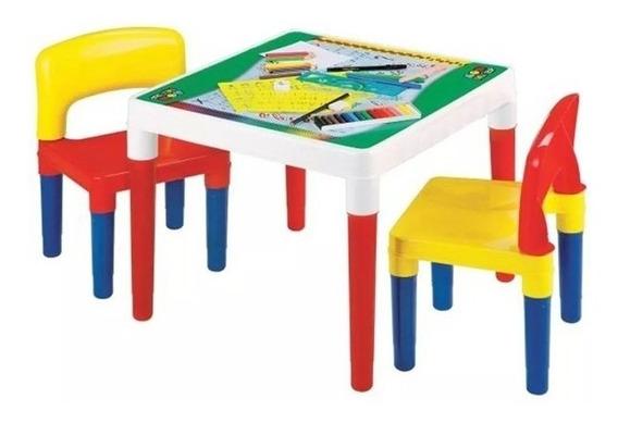Mesa Mesinha Escolar Infantil 2 Cadeiras Resistente + Brinde