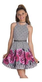 Roupa Infantil Vestido Luxo Floral Criança Rosas Diforini