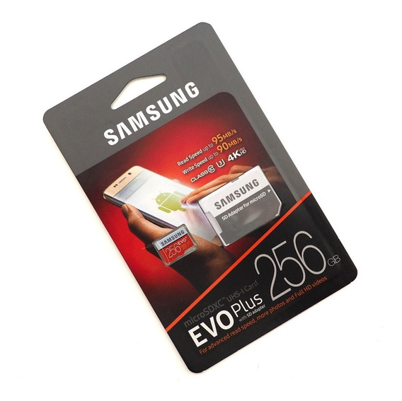 Cartão Evo Samsung 256gb Micro Sd 95mb/s Drone 4k Gopro Hero Black Hero 5 Hero 6 Hero 7 Original Lacrado
