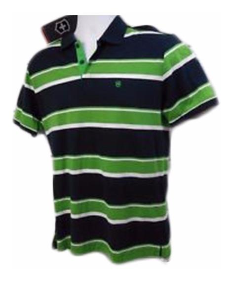 Camiseta Polo Victorinox De Manga Corta Rayada Verde C/blanc