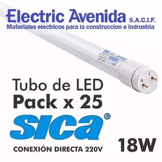 Tubo De Led 18w Sica Pack 25 Unidades Luz Dia Directo 220v