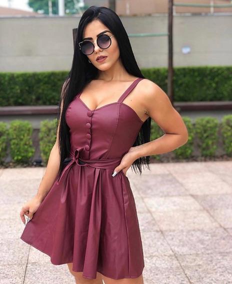 Vestido Courino Madamex Com Zíper No Lado Cor Marsala E Rosa