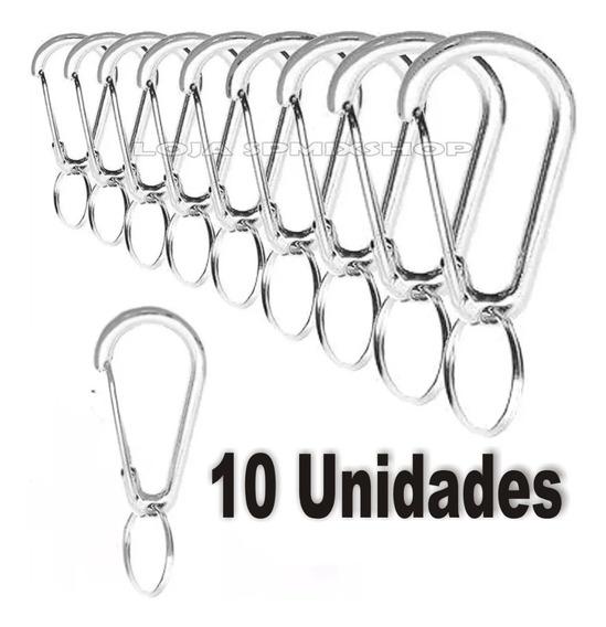 10 Chaveiro Mosquetão Metal Gancho Cromado Carro 1° Linha