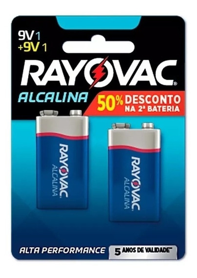 Bateria Alcalina Rayovac 9v Com 02 Unidades Alta Performance