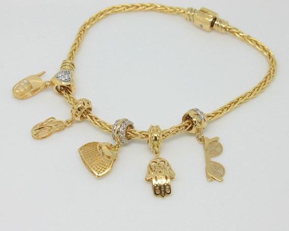 Pulseira Bracelete Berloques Pandora Ouro 18k Jsp0526