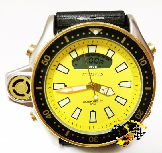 Relógio Atlantis A3220 Aqualand Jp2000 Citizen Borracha Ouro