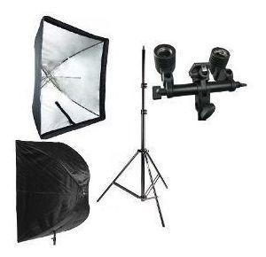 Kit Softbox 90x90 Tripé Iluminação Soquete Duplo E37 E Flash