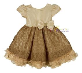 Vestido De Festa Infantil Princesa Realeza Dourado
