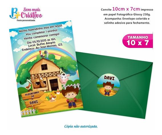 Convite Aniversário Fazendinha - 30 Unidades - 10cm X 7cm