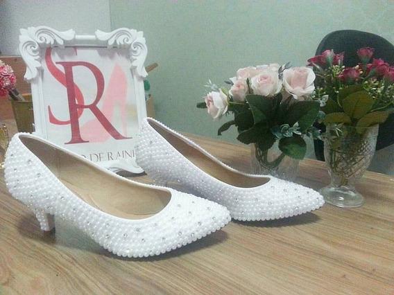 Sapato De Noiva Pedraria Dourado/marfim