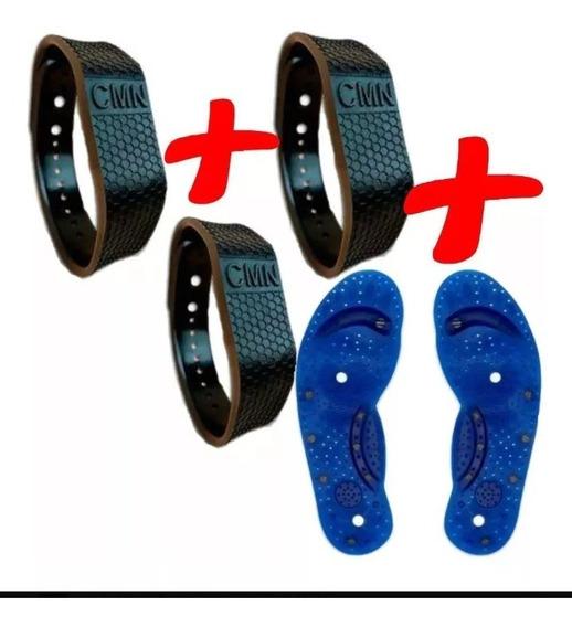 3 Pulseiras Equilíbrio Magnética + 2 Palmilhas Magnética Fir
