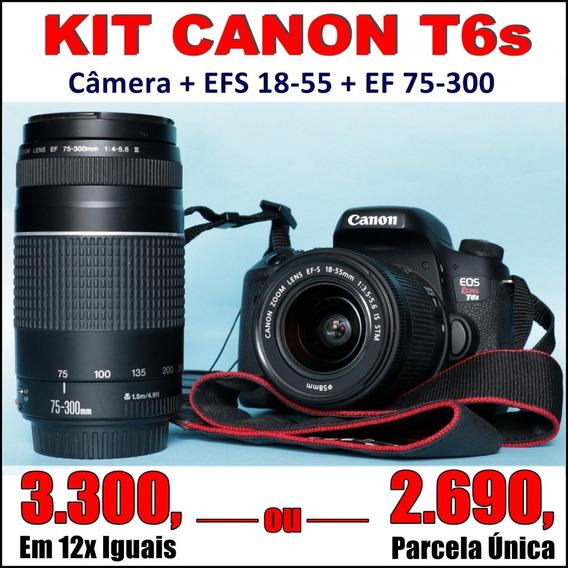 Canon T6s + Lentes 18-55 + 75-300* (9k) - Não É T5i Nem T6i