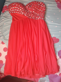 Vestido De Noche Color Rosa Coral Con Perdería