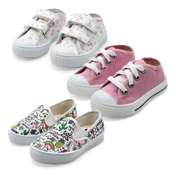 Kit Com 3 Tênis Infantis Branco Com Rosa - All Kids