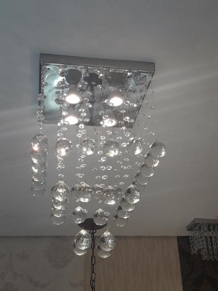 Lustre Pendente Cristal 30x30 Altura 50cm Maravilhoso