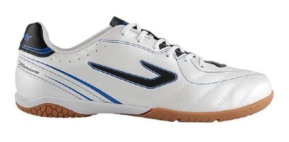 Chuteira Topper Titanium 6 Futsal Branco / Preto / Azul