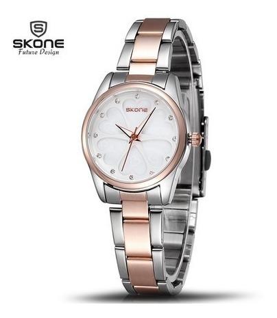 Relógio Feminino Skone 5048 Gold White