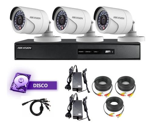Kit 3 Camaras Seguridad Exterior 720p +dvr+disco - Hikvision