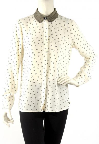 Camisa Blanca Con Cadenas En El Cuello Maison Scotch