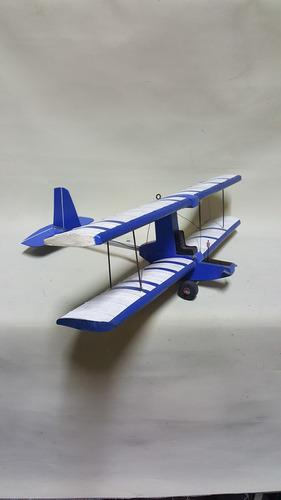Avioneta A Escala En Madera Grande U.s.a. Azul