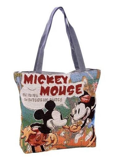 Bolsa Sacola Mickey Mouse Em Tecido Com Zíper E Alça