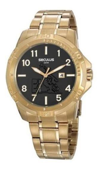 Relógio Masculino Seculus Dourado Fundo Trabalhado Country