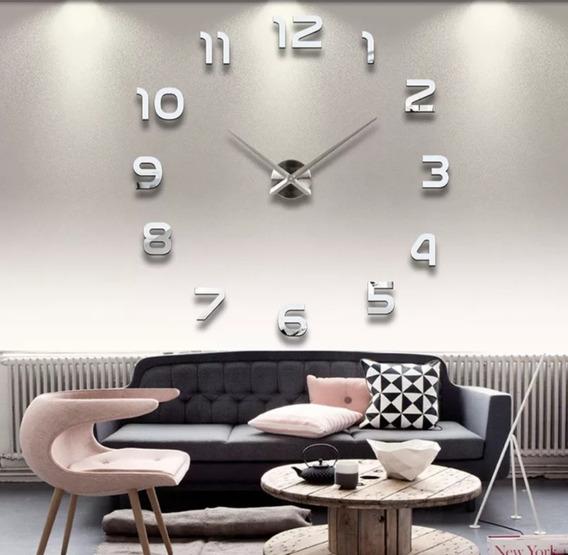 Relógio De Parede Grande 3d Sala Quarto Escritório Prata