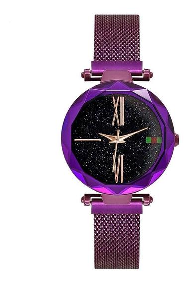 Relógio Céu Estrelado Iuxo Pulseira De Imã - Cor Violeta