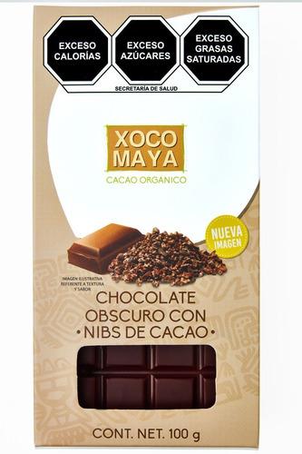 Imagen 1 de 7 de Barra De Chocolate Oscuro Con Nibs De Cacao Xoco Maya