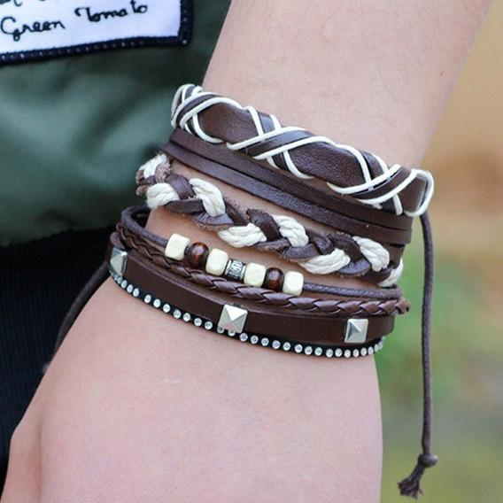 Kit De Pulseira Masculina Feminina Bracelete Couro Legítimo